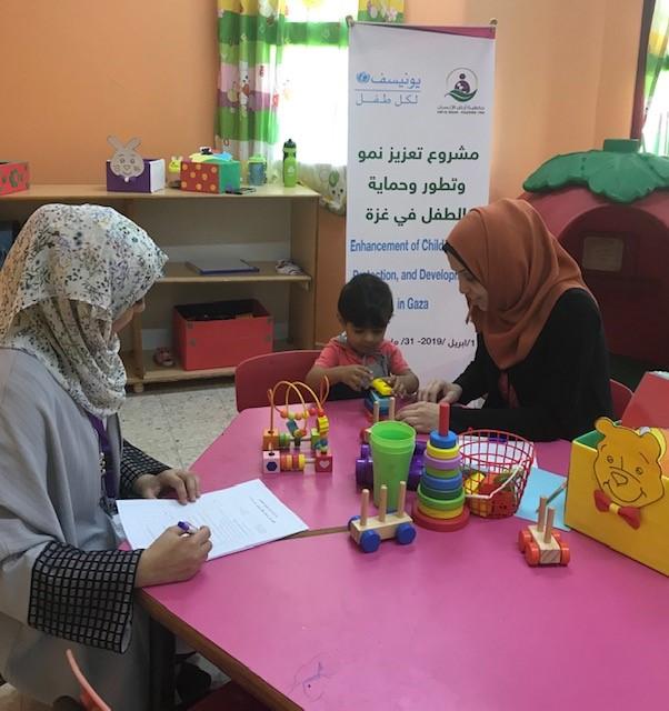 تعزيز نمو وتطور وحماية الطفل في غزة والذي تنفذه الجمعية بتمويل من منظمة الأمم المتحدة للطفولة اليونيسف